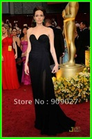 Newest! 2012 Black Sweetheart Backless Chiffon Ruched Angelina Jolie Oscar Dress Celebrity Dresses Gowns