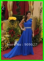 New Arrival! 2012 Blue One Shoulder Chiffon Ruched Sashes Samantha Dress Celebrity Dresses Gowns