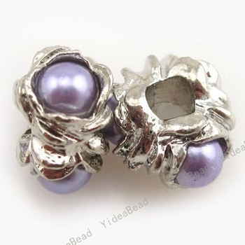 Wholesale - 30 Alloy Charms Beads Inlay Purple Pearl Jewelry Accessory Fit diy Bead Bracelets Necklace Free SHIPPING 150826