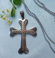 CS025 free shipping 10pcs/lot wholesale fashion titanium steel cross pendant stainless steel cross pendant silver necklace