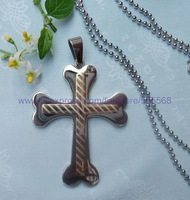 CS038 free shipping 10pcs/lot wholesale fashion titanium steel cross pendant stainless steel cross pendant silver necklace