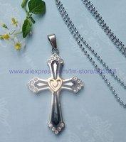 CS044 free shipping 10pcs/lot wholesale fashion titanium steel cross pendant stainless steel cross pendant silver necklace