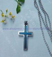 CS071 free shipping 10pcs/lot wholesale fashion titanium steel cross pendant stainless steel cross pendant silver necklace