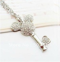 Whole sale - Free Shipping - Mickey Mouse Head Key Crystal Metal Rhinestone Necklace Pendant 073