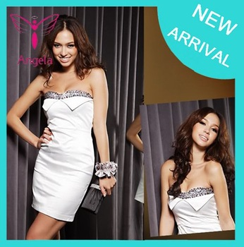 Promotion ! Free Shipping Strapless Dress Silk Fashion Sexy Beads Border Cocktail Dress SK-028