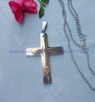 CS107 free shipping 10pcs/lot wholesale fashion high-grade titanium steel cross pendant stainless steel cross pendant necklace
