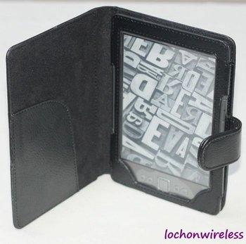 Free Shipping Black Folio PU Leather Case For Amazon Kindle 4 4G Case