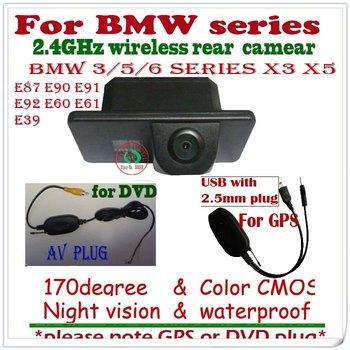 wireless car rear camera reaview reverse backup for BMW X3 X5 E81 E87 E90 E91 E60 E61 E63 E64 E70 E71 E39 paking assist