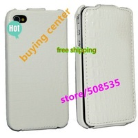 CrocoLeather case 50pcs/lot for iPhone 4 by Free shipping