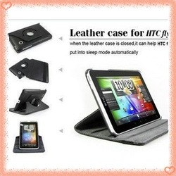 For HTC flyer leather case with pen +360 deg rotatable ,multifunction pu case with stand for p510e free shipping(China (Mainland))