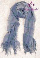 Blue Grid Scarf Retail 100% Viscose Oblong Scarf Shawl Unsiex British Style Fashion Extra Large Scarf Blue Grid Scarf