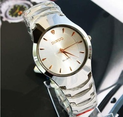 Free shipping luxury DINUO Men high-grade steel with quartz fashion watch Wear-resisting high hardness glass mirror wholesale(China (Mainland))