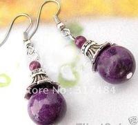 Wholesale Natural tibet jewellery silver purple jade Gems beads earring AAA Grade 8color,mix order,50pair/lot