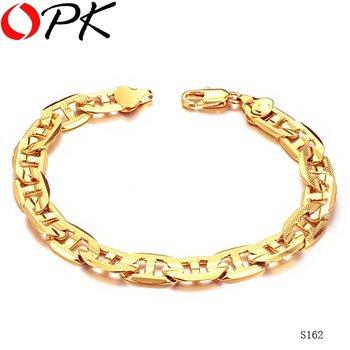 OPK JEWELLERY Korean style 18K GOLD GP BRACELET  fashion gold filled jewelry Leisure link chain bracelet, gift for men/ boy 162