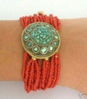 "Superb Jewelry genuine 7.5"" Tibet Red Coral Bead Turquoise Bracelet Bangle shipping free"