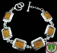Christmas Gift! Square yellow gemstones bracelet,fashion T/0 clap bracelet