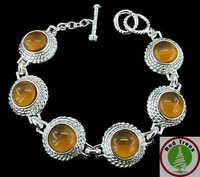 Christmas Gift!Yellow  round gemstones bracelet,fashion T/0 clap bracelet