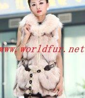 BY-HN-G034 Fashion Waistcoat for Women, Beige  fox fur coat, fox fur vest