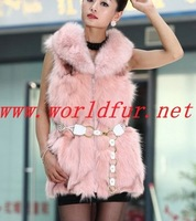 BY-HN-G036 Fashion Waistcoat for Women,  Pink  fox fur, fox coat