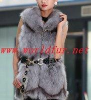 BY-HN-G038 Fashion Waistcoat for Women,  Gray  fox fur, Fox fur vest