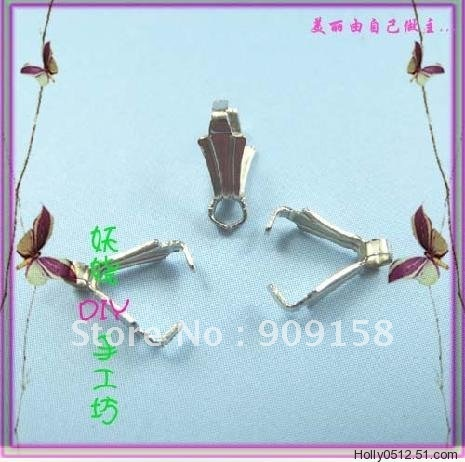 Factory Outlet Pricelasps free shipping 500 pcs Silver plated Pendant Pinch bails 8 mm(China (Mainland))