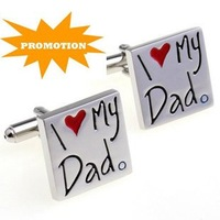Promotion: Stainless Steel Cufflink 2pairs Wholesale Free Shipping / I Love My Dad