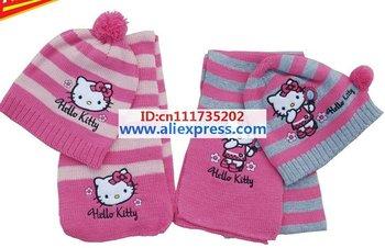 Christmas Gift free shipping 2014 girl fashion Girls love hello kitty fashion scarf +hat knitting 2color