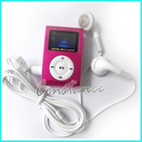 Mini LCD Screen Clip MP3 Player With SD/TF Card Slot/auto-protect TF card + Free Shipping