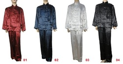 Men's Chinese Kung Fu Suit (Coat +Pants) Dragon Embroidery Satin Caaual Clothing Handmade Buttons Size M~3XL Free Shipping(China (Mainland))