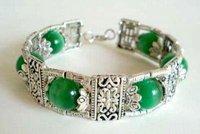 4PC Fancy Tibet Jewelry Green jade Emerald Bead Bracelet bangle Fashion Free shipping