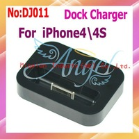 Wholesale 10pcs/lot Dock Cradle Sync Charger Station For iPhone 4G Free shipping,charger for iphone  4G with Black  #DJ011