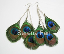 12 pairs/lot Free shipping 2011 new arrival Tier Chandelier Natural Peacock Feathers Earrings(China (Mainland))