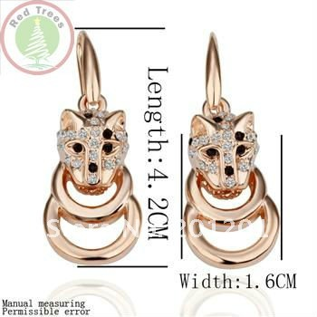 Free shipping&newest&cute 18k gold plated jewelry,basketball wives lovely dog earring for christmas/men gift