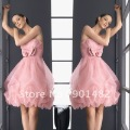 Free Shipping!!! Model E007  2012 new knee length organza formal pink cocktail dress