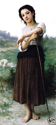 "Free shipping 100% handcraftsart Oil painting Young Shepherdess Standing 24x36""inch(China (Mainland))"