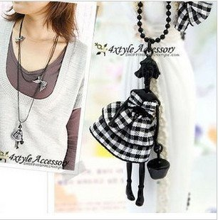 hard-working girls bow double long necklace   sweater chain  fashion jewelry