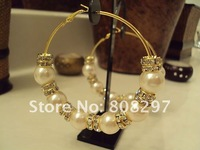 DIY 70mm (PVC Pearl) Charm New Bling Plating Gold Basketball Wives Inspired Poparazzi  Hoops Earrings 5Pair/lot