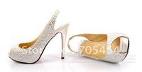 crystals open toe high heel bridal wedding shoes PS008