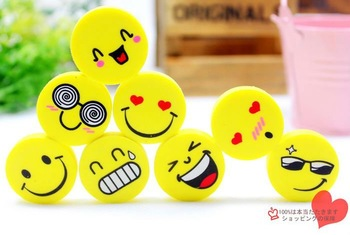 smiling face eraser,cartoon eraser,stationery,cleaner,8 differents expression