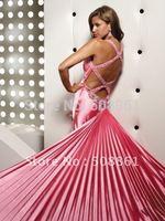 V-neck strappy empire cut waistline blue sexy prom evening dresses