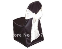 free shipping black  satin banquet chair cover/wedding chair cover/satin chair cover/white