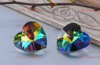 Free Shipping!Wholesale 100Pcs/Lot 14mm Rainbow Crystal Glass Heart Beads,DIY Heart Beads xcb1202