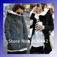 NEW women's Hoodie Coat Zip Up long top pullover Free Size Black,Dark Gray