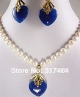 Hot Fashion woman's Jewelery Noblest 7-8MM White pearl& Sapphire Heart pendant necklace earring set