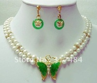 Hot Fashion woman's Jewelery Genuine white freshwater pearl & green jade butterfly pendant necklace earring set