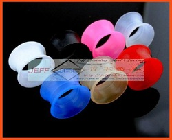 Free shipping wholesale Acrylic Ear Tunnel Ear Plug Silicone Ear Plug Tunnel 100pcs per lot mixed sizes(China (Mainland))