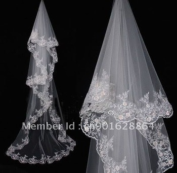 Free shipping wholesale/retail lace appliques cathedral long bridal wedding veil for the wedding dresses of the bride-to-be