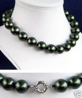 "Jewelry 12mm black shell pearl necklace 18"" Fashion AKOYA Free shipping"