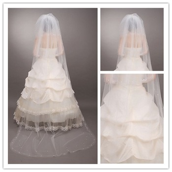 New fashion affordable tulle lace edge beaded appliqued three-layer white wedding veils TS-006