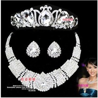 Counter jewelry! Royal Princess - Crystal Crown + necklace + earrings bridal wedding sets of three-piece chain B